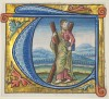 Historiated initial T depicting St Andrew, excised from a missal (French, c.1500)